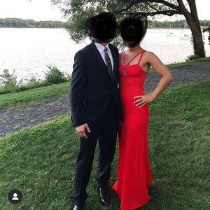 Long, red dress